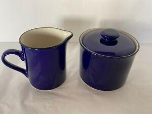 Cobalt Blue Stoneware Cream & Sugar Set with Lid Black Trim Tan Color Inside