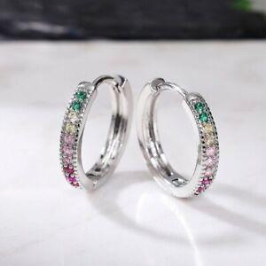 925 Silver Round Cubic Zirconia Women Wedding Jewelry Luxury Hoop Earrings Gifts