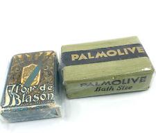 Bar Soap Palmolive and Flor de Blason Myrurgia c1930s Wrapped Stage Prop Vintage
