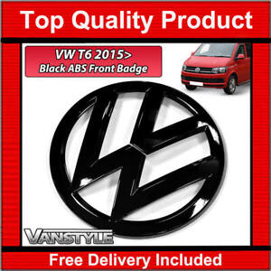 FOR VW T6 TRANSPORTER CARAVELLE FRONT BADGE GLOSS BLACK NOT CHROME REPLACEMENT