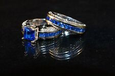 Blue and White Austrian Crystal Wedding Ring Set, CZ and 10K WGF size 6