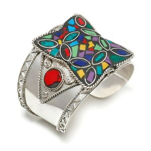 Solid 925 Sterling Silver Turquoise,Coral,Lapis Gemstone Cuff Bracelet Adjust.