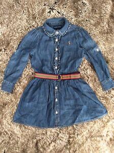 RALPH LAUREN Designer Girl's Denim Belted Dress 4 years