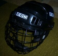 RARE Black CCM Tacks 652 Hockey HELMET w/CAGE/Face Mask EAR PROTECTORS Youth M
