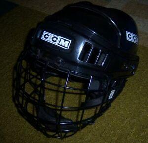RARE Black CCM Tacks 652 Hockey HELMET w/CAGE/Face Mask EAR PROTECTORS Youth M