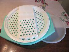 Tupperware  JADEITE GREEN  Shredder Cheese Slice Grater Bowl set Z seal Torilla