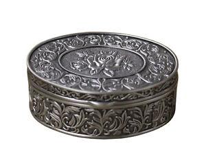 Pewter Oval Modern Shape Flower Decorate Jewelry Storage Box n184