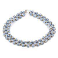 Vintage Czech 3 strand choker beaded necklace blue lustre trade glass beads