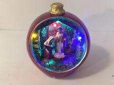 Kurt Adler Lighted Nativity Scene Round Christmas Ball Silent Night Color Change