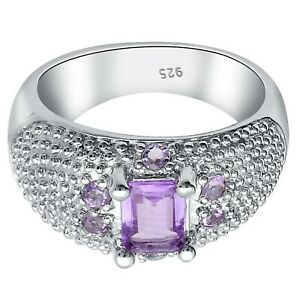 Natural Amethyst Gemstone With 925 Sterling Silver Men's Ring #150