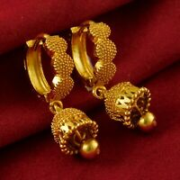 18K Traditional Hoop Earrings Bridal Gold Plated Drop/Dangle Fashion Jewellery