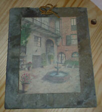 Beautiful Vintage Roof Slate with image of Brulator Courtyard, New Orleans