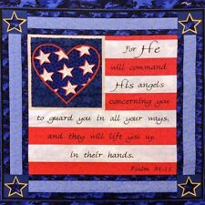 Military Soldiers Prayer Psalm 91:11 Heart Cotton Fabric Pillow Panel