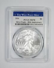 MS70 2016 American Silver Eagle West Point Mint 30th Anniversary Grade PCGS *578