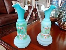 (2) Mt. Washington WEBB Glass Hand Painted Cased Blue Satin PITCHER EWER VASES