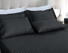 1000TC Striped Ultra Soft Microfibre Fitted Flat Sheet Set All Size Pillowcase