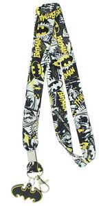 Batman Allover Pattern Comic Graphics Lanyard w/ Badge Holder Rubber Bat Charm