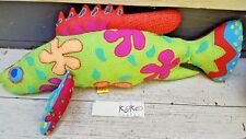 FISH ACCENT PILLOW LARGE HAND STITCHED KOKO NWT MULTI-COLOR BEACH NAUTICAL DECOR