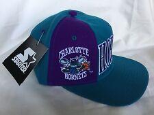 VTG 90s STARTER Charlotte Hornets Knockout II SnapBack TriPower Construction Hat