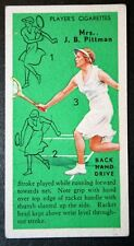 Womens Tennis    Pittman  Backhand Drive     Vintage Colour Card