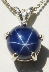 """HUGE BLUE STAR Sapphire POPULAR ROUND shape 8mm 18"""" chain Silver Authentic"""