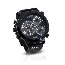 Mega XXL Triple Timer Fame Herrenuhr Stahl PU Leder Weiss Top Armbanduhr Uhr