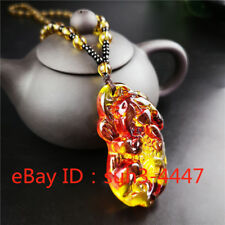 Yellow Natural Amber Tiger Pendant Fashion Necklace Charm Jewelry Lucky Amulet