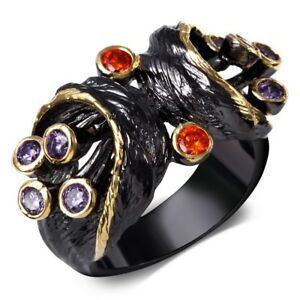 Ladies Stunning Multi-Gemstone Pearl 18KT Gold Party Gift Party Ring Size 9-10