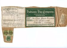RARE Admiral PRECANCELS, on PARCEL ** Hudson's Bay Co. to USA  Canada