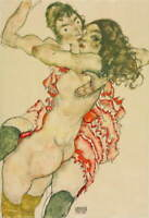 Egon Schiele Two Women Embracing Giclee Art Paper Print Poster Reproduction