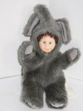 "Gray ELEPHANT BABY DOLL Face 10"" Green Trading USA Soft Plush Costume Furry"
