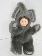 "ELEPHANT BABY DOLL Face 10"" Green Trading USA Soft Gray Plush Costume Furry"