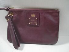 JUICY COUTURE Maroon Genuine Leather Wristlet Clutch Bag Purse