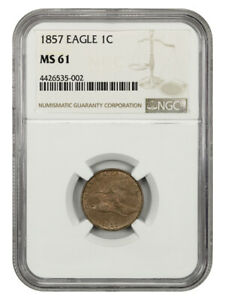 1857 Flying Eagle 1c NGC MS61 - Popular First Year Type Coin - Flying Eagle Cent