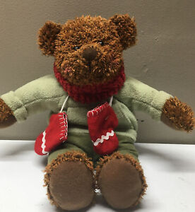 "Hallmark Christmas Winter Bear Mittens Brown 13"" Soft Toy Plush Stuffed Animal"