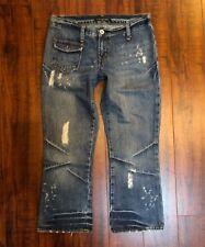 Designer RALPH LAUREN POLO Jeans Distressed Destroyed Hip Carpri Jeans sz 27