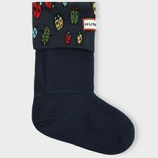 HUNTER Kids Youth Boys size L 1-3 Winter Rain Boot Socks Blue Bugs Ladybird NIB