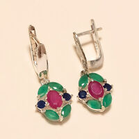 Natural Emerald Ruby Sapphire Earring 925 Sterling Silver New Year Fine Jewelry