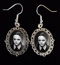 Wednesday Addams Family Antique Silver Drop Earrings Goth Movie DVD Ricci