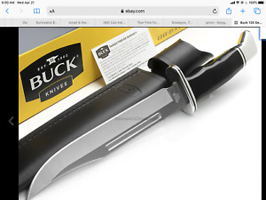 "Survivalist Buck  Knife Fixed 7-3/8"" Blade, Black Phenolic Handles, Leather case"