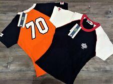 T-shirt ragazza Lonsdale London puro cotone 100% stampa ricamo Arancione Blu M L