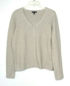 Eileen Fisher Sweater Womens Small V Neck Beige
