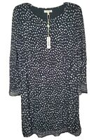 Max Studio Printed Pleated Shift Dress Black Dot Women's Size M