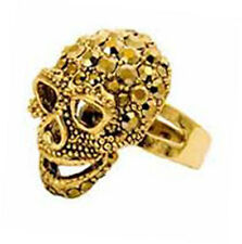 Butler and Wilson SMALL Gold Crystal Gold Tone Skull Ring ONE SIZE New