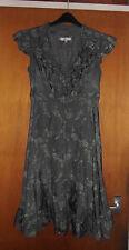 Gorgeous John Rocha Grey/Silver Floral-Print Crinkle Tea Dress - Size 12 - BNWoT