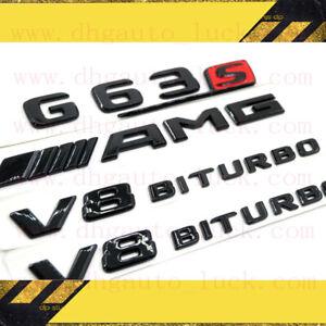 MERCEDES BENZ G-CLASS GLOSS BLACK SET AMG G63S V8BITURBO BADGES EMBLEMS STICKER