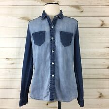 Volcom Women's Two Tone Blue Chambray Denim Button Front Shirt. Size Medium.