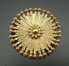 "Pinwheel 2"" Brooch Pin Vintage 1928 Gold Tone"