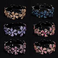 Fashion Women Rhinestone Flower Hair Clip Hairpin Babby Pin Bun  Headpiece Gift