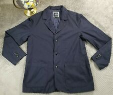 Indigo Palms Womens Navy Blue Coat Fall Outerwear 100% Cotton 3 Button Sz Large